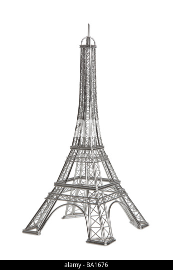 Eiffel tower wire model on white background - Stock Image