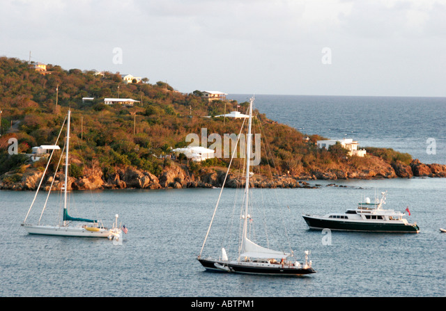 St. Thomas USVI West Gregerie Channel Water Island boats sailboats homes hill Caribbean Sea - Stock Image