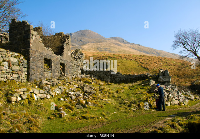 Arenig Fawr from the ruined farm at Amnodd-wen, in the Arenig hills, near Trawsfynydd, Snowdonia, North Wales, UK - Stock Image