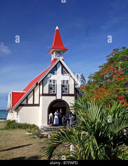 Wedding in Eglise de Cap Malheureux Mauritius Africa - Stock Image
