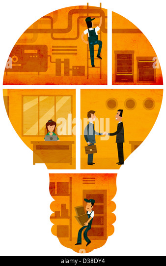 Illustrative image of businesspeople representing mechanism and ideas over white background - Stock Image