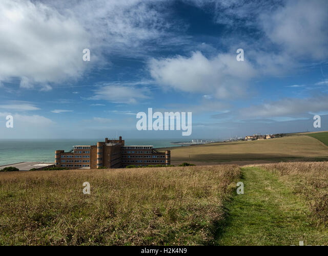The Blind Veterans UK home (formally St Dunstan's Hospital) on the South Downs looking towards Brighton Marina - Stock Image