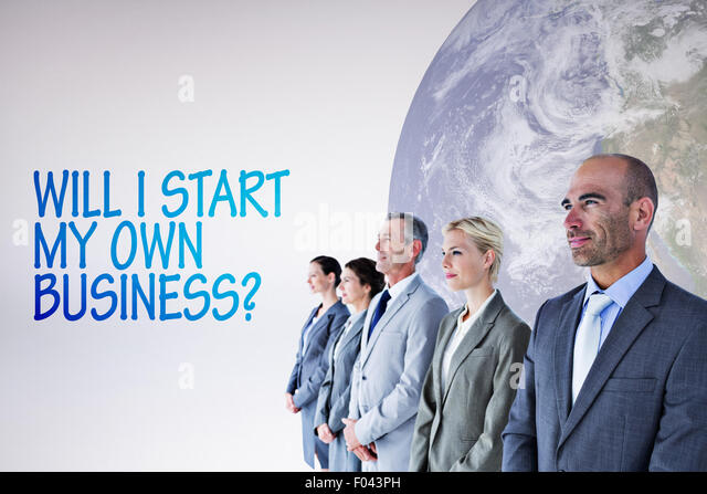 Composite image of business people standing in a row - Stock Image