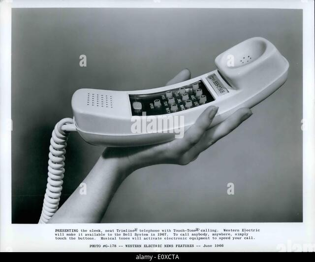 Jun. 06, 1966 - Presenting the sleek, neat Trimliner telephone Touch-Toner calling. Western Electric will make it - Stock Image