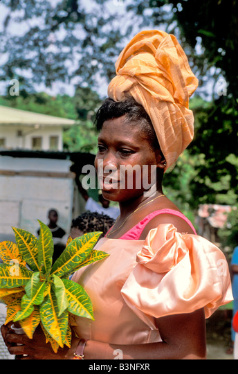 Tobago Heritage Festival woman in old fashion 18th  century British bustle dress in Moriah Village Old Time Wedding - Stock Image