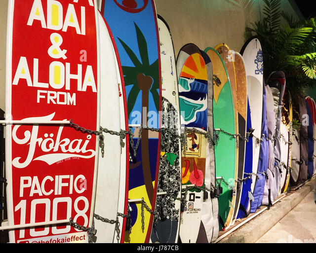 SURF BOARDS storage at Waikiki Beach, Honolulu, Hawaii. Photo: Tony Gale - Stock-Bilder
