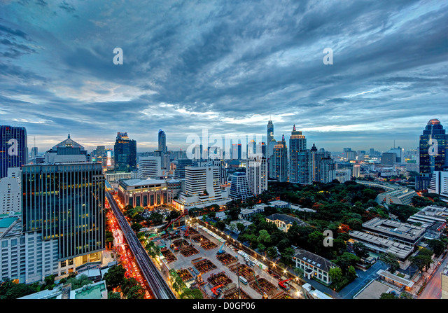 Moody Skies over Chidlom | Bangkok - Stock Image