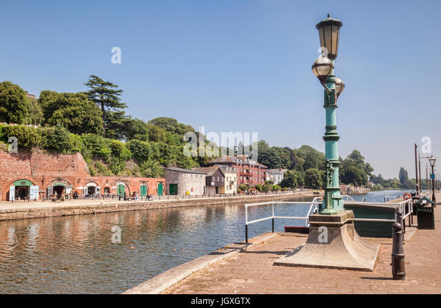 21 June 2017: Exeter, Devon, England, UK - A view along the River Exe to some of the attractions on Exeter Quays. - Stock-Bilder