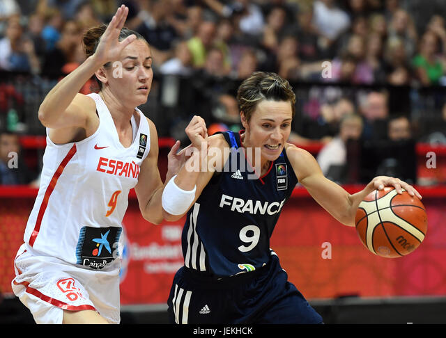 Laia Palau of Spain, left, and Celine Dumerc of France in action during the FIBA Women's European Basketball - Stock-Bilder