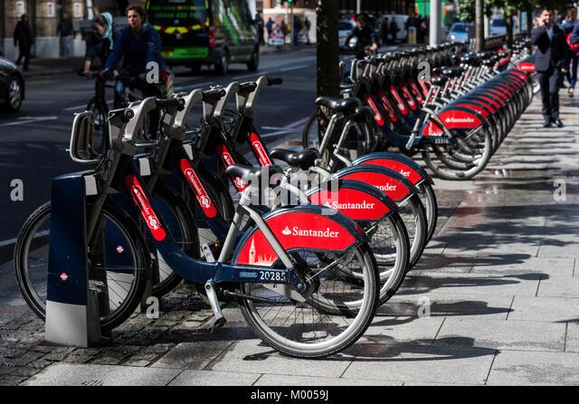 London's self-service cycle hire scheme sponsored by Santander, London, England, United Kingdom - Stock Image