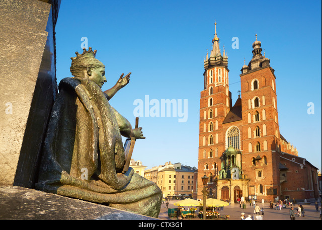 A part of Adam Mickiewicz Monument and Church, St. Mary's Church, Krakow (Cracow), Poland, Europe (UNESCO) - Stock-Bilder
