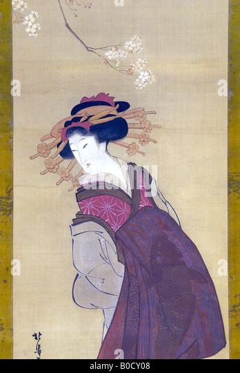 TAYYU STANDING UP. Detail of a painting on silk by Katsushika Hokusai - Stock Image