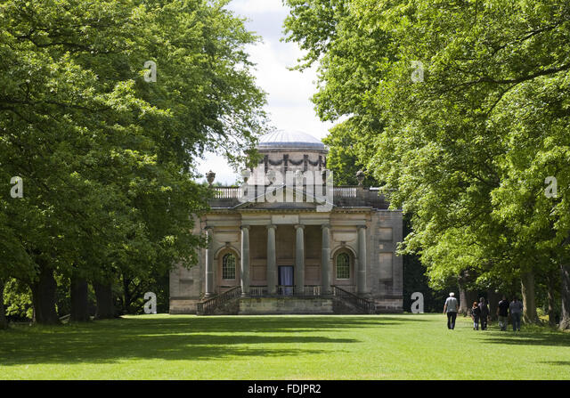 View from the Long Walk to the Palladian Chapel, begun in 1760 to the design of James Paine, at Gibside, Newcastle - Stock-Bilder
