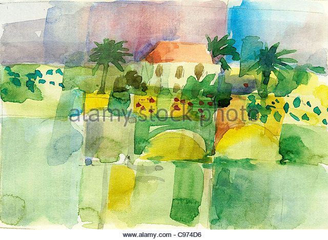 Travel sketches Canary Islands La Palma - Stock Image