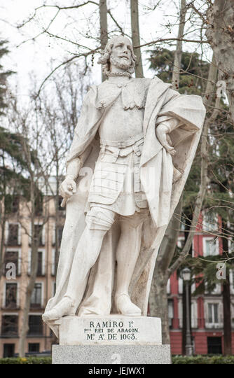 Madrid, Spain - february 26, 2017: Sculpture of Ramiro I of Aragon at Plaza de Oriente, Madrid. He was the first - Stock Image