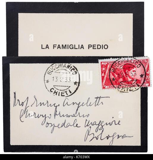 Italien black-edged mourning letter, 1933. - Stock Image