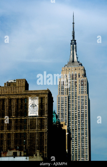 Empire State Building in Manhattan New York City USA Copy Space - Stock Image