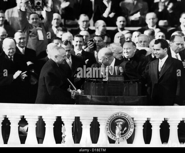 Four presidents at Dwight Eisenhower's first inauguration L-R: Herbert Hoover, Harry Truman, Eisenhower, and - Stock Image