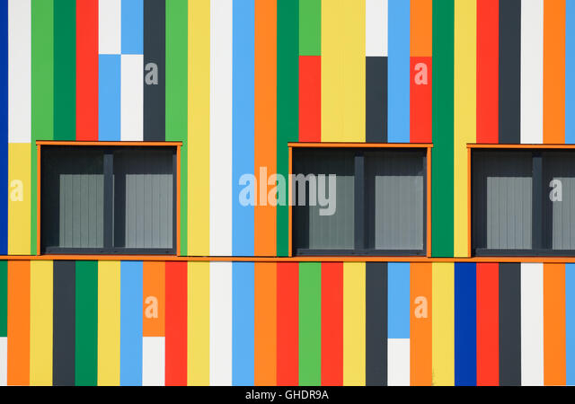 Multicolored Abstract Painted Facade and Windows or Window Pattern of Regional or Local Government Offices Aubagne - Stock Image