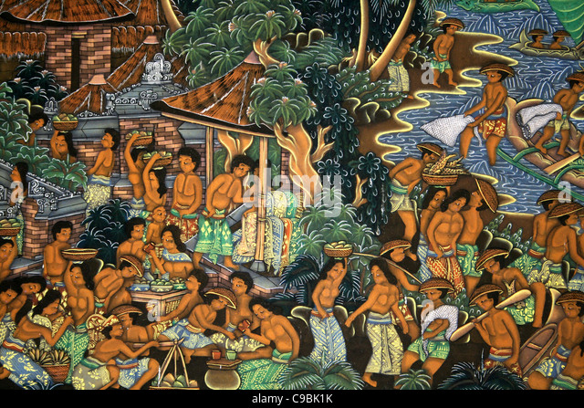 Traditional Indonesian Painting Of Village Life - Stock-Bilder