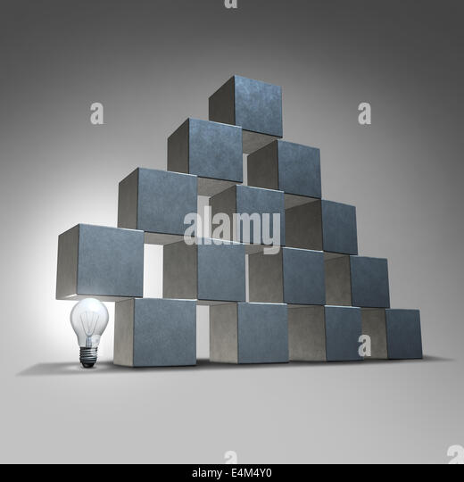 Creative support and business marketing partnership concept as a group of three dimensional cubes being supported - Stock Image
