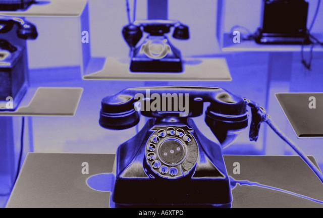 Vintage rotary landline telephones - Stock Image