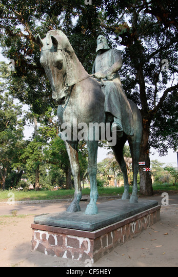 King Leopold I statue stands in the grounds of the Ethnographic Museum. Ngaliema, Kinshasa, Democratic republic - Stock-Bilder