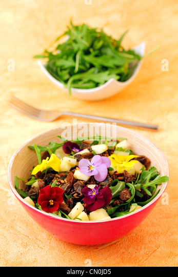 Salad with crusty wild rice. Recipe available - Stock Image