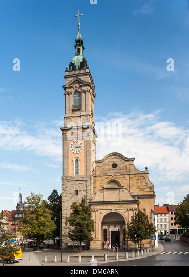 St. George's Church on the market square, Preacher's Church of Martin Luther, Eisenach, Thuringia, Germany - Stock Image