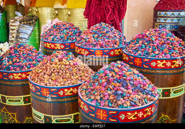 Traditional local herbs and spices, Morocco, Africa - Stock Image