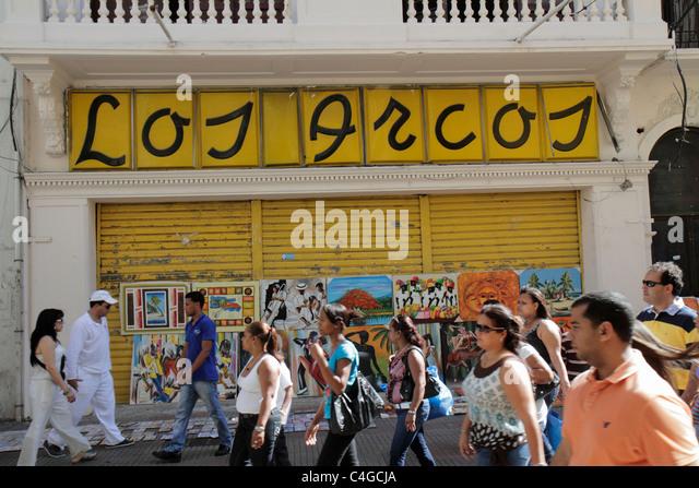 Santo Domingo Dominican Republic Ciudad Colonia Calle el Conde Peatonal business district pedestrian mall storefront - Stock Image