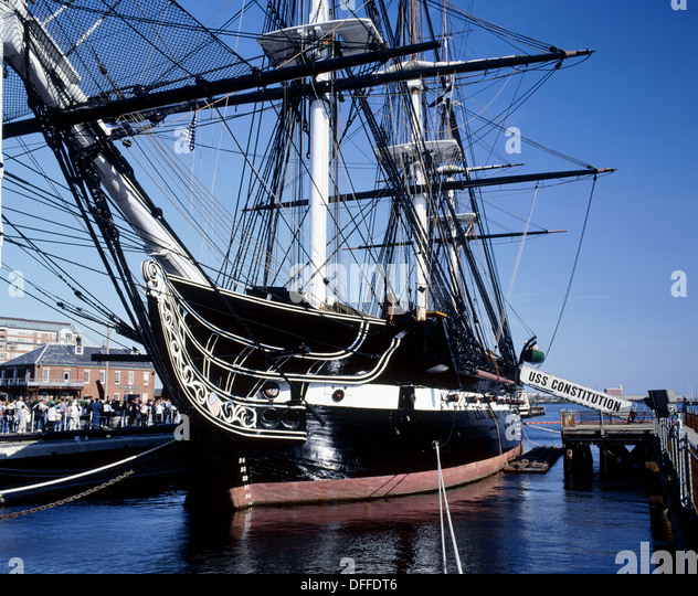 USS Constitution, the world´s oldest commissioned warship afloat. Boston Harbor. Massachusetts, USA - Stock Image