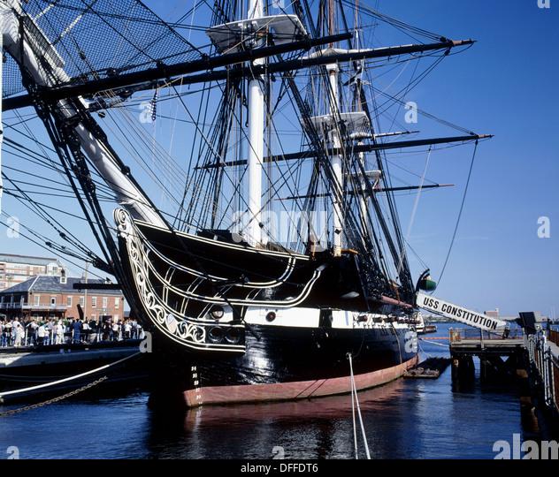 USS Constitution, the world´s oldest commissioned warship afloat. Boston Harbor. Massachusetts, USA - Stock Image