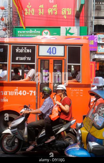Thailand Bangkok Samphanthawong Chinatown Yaowarat Road motorcycle bus traffic - Stock Image