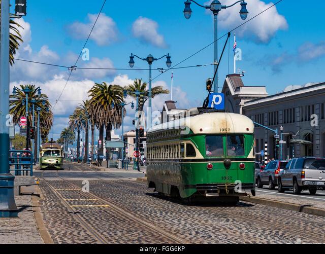 Classic Municipal Railway car, Ferry Building, Embarcadero. San Francisco, California. - Stock Image