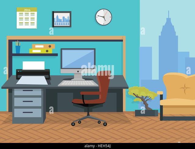 Interior Office Room. Illustration for Design. Modern office interior designer desktop in flat design. Interior - Stock-Bilder