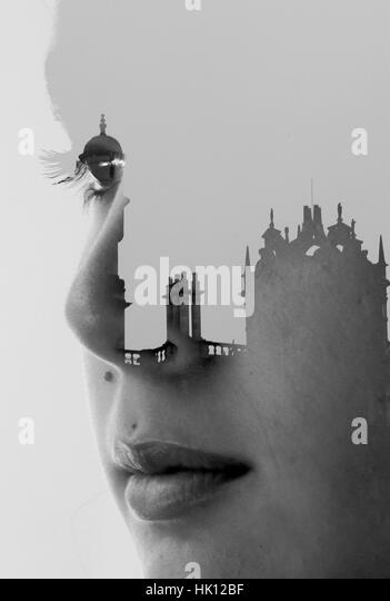 Double exposure portrait - Stock Image