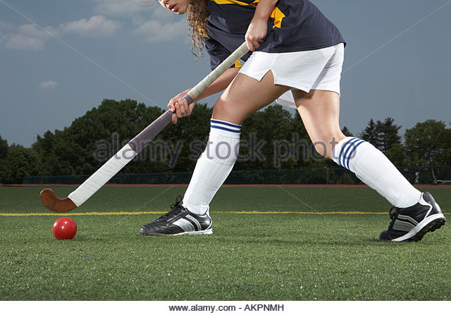 A hockey players legs - Stock Image