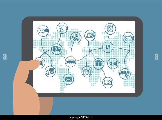 Business process automation in a digital world - Stock Image