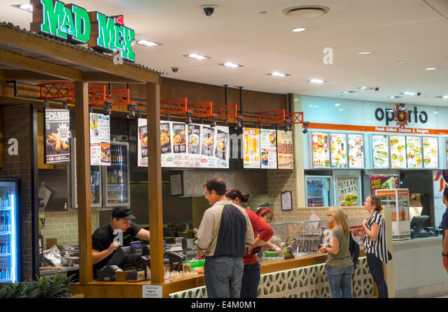 Brisbane Australia Queensland Central Business District CBD Queen Street Mall food court Mad Mex fast food restaurant - Stock Image