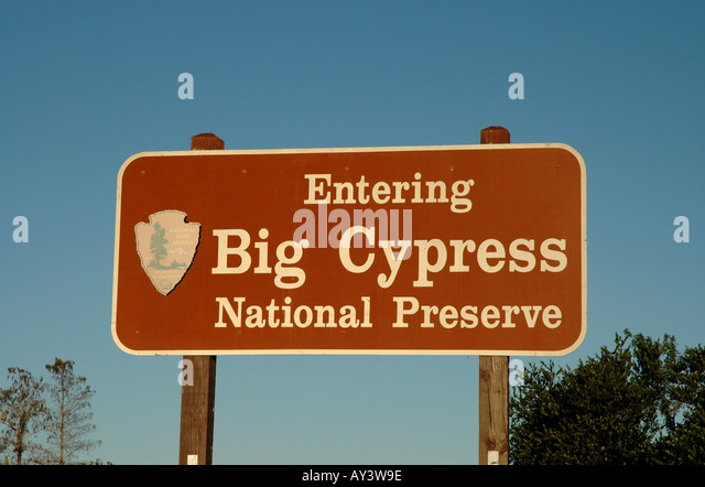 Florida Everglades Big Cypress Sign national preserve - Stock Image