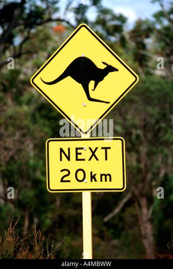 Kangaroo warning sign on a road in Australia. - Stock Image