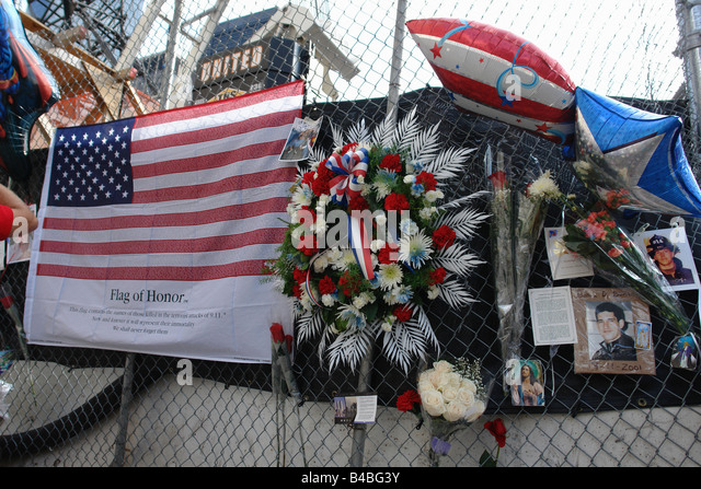 Flag of Honor at Ground Zero World Trade Center Twin Towers on September 11 2008 7th anniversary of the terrorist - Stock Image