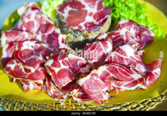 sliced cold pork meat - Stock Image
