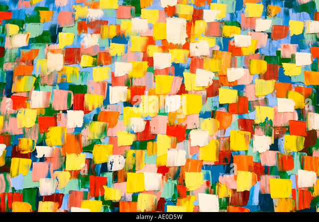 Abstract psychedelic oil painting in bright yellow colors - Stock Image
