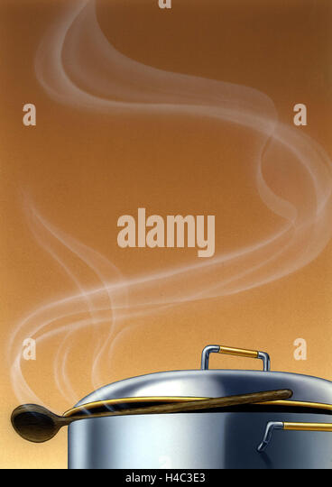 Steaming cooking pot with wooden spoon - Stock Image