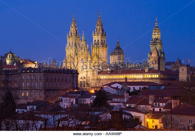 Cathedral at night from Alameda Park, Santiago de Compostela, Galicia, North West Spain - Stock-Bilder