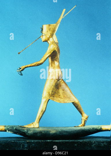 Tutankhamun (Tutenkamen) d.c.1340 BC 18th dynasty Egyptian Pharaoh. Guardian figure on his golden sarcophagus Photograph. - Stock Image