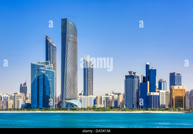 United Arab Emirates, UAE, Middle East, Abu Dhabi, City, Skyline, Central Market Tower, tower, architecture, buildings, - Stock Image