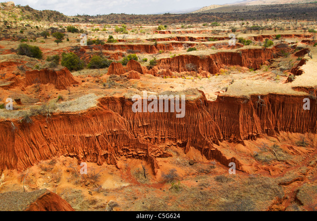 Soil erosion creates intricate patterns,Kenya - Stock-Bilder
